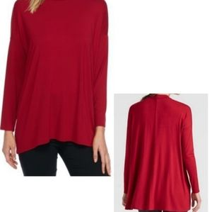 Eileen Fisher Red Long Sleeve Mock Neck Tunic Sm